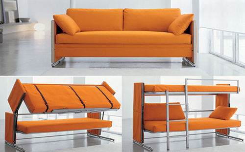 It's a comfy couch which converts into a double-deck bed – something you can