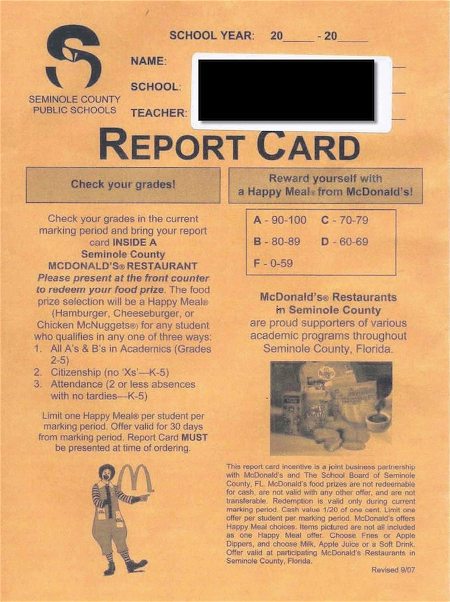 mac donald report card