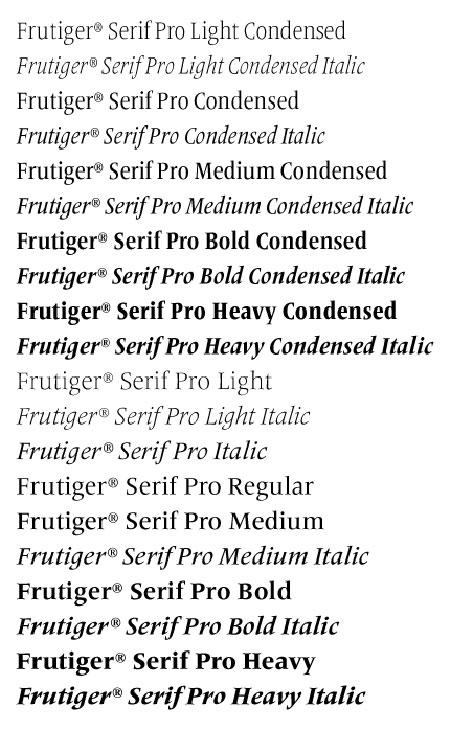 frutiger serif styles