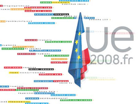 A logo for the french presidency of the UE