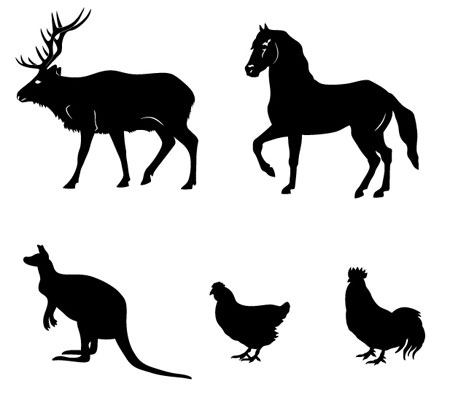 13 animals silhouette vectors download