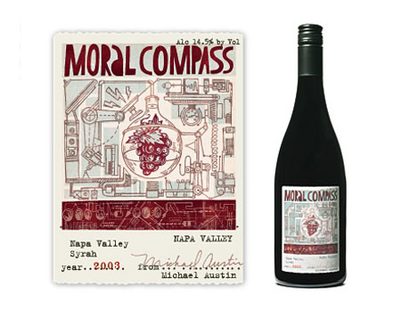 moral compass wine label