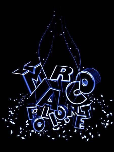 3d typography neon