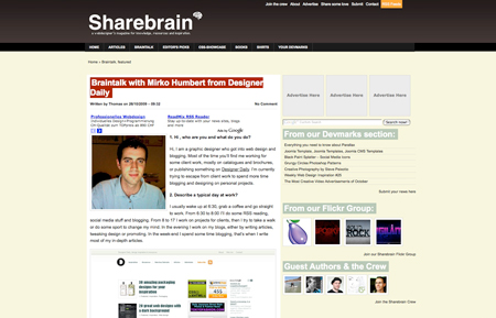 Interview on ShareBrain