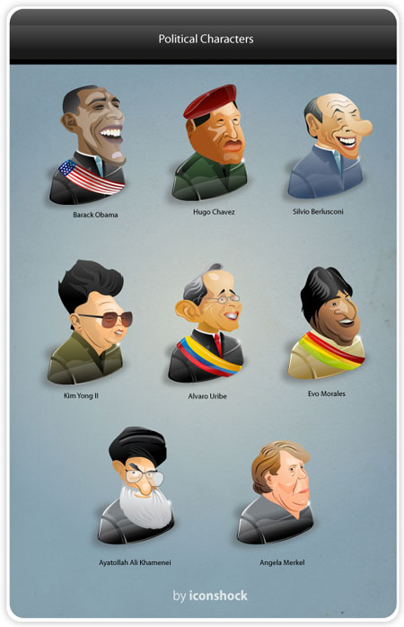 political characters icon set
