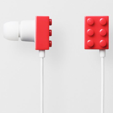 Lego brick earphones