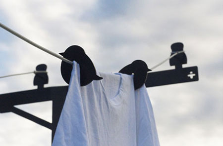 Creative clothesline design: birds on a laundry wire