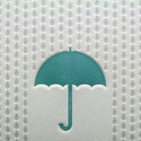 Rainy day letterpress card