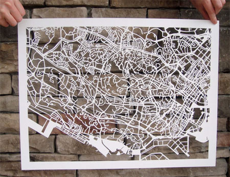 Hand-cutted paper maps