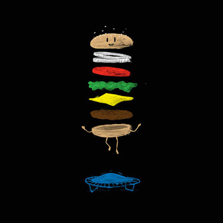 A hamburger on a trampoline