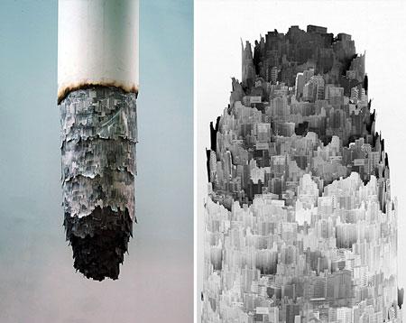 Cigarette ash landscape by Yang Yongliang