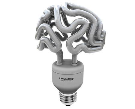 Brain lamp bulb concept