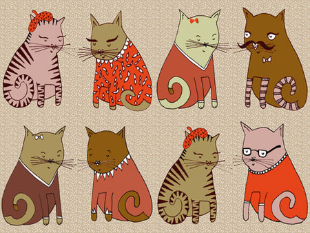 Sweater cats illustration