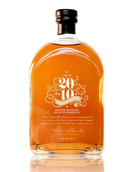 Ekstra Modnet Gilde Juleaquavit bottle design