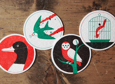 Ornithology Letterpress Coasters