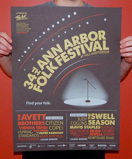 """""""Ann Arbor Folk Festival"""" Poster"""