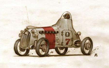 Otter Racer illustrations