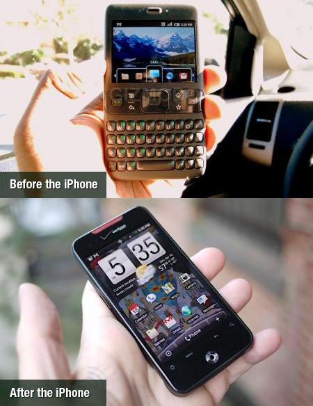 Android devices design before and after the iPhone/iPad