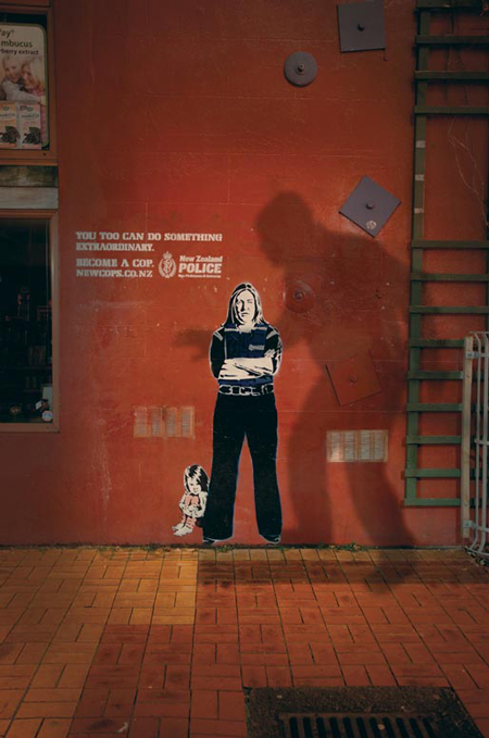 Banksy-stlye ads for the police