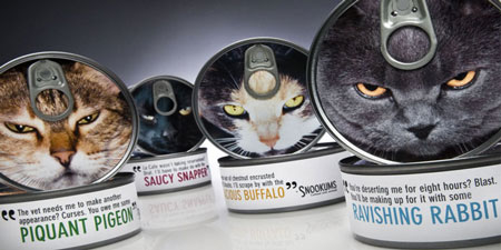 Snookums Cat Food advertising and packaging