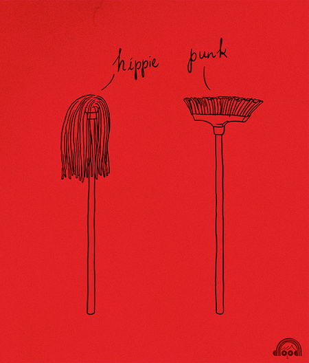 Hippie vs Punk illustration