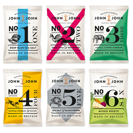 John & John potato crisps packaging