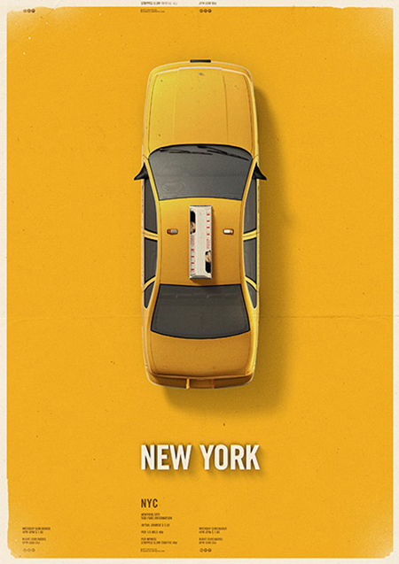 City Cab Poster by Mehmet Gozetlik