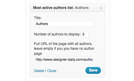 WordPress plugin: most active authors widget