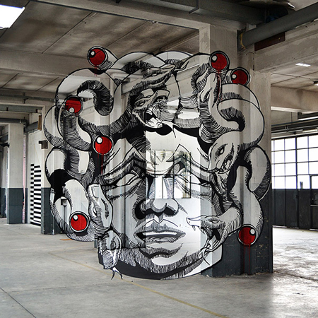 Anamorphic Medusa Inside a Factory