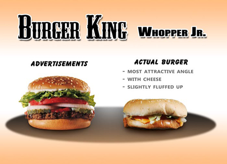 Fast food: ads vs reality