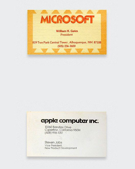 Vintage business cards: Bill Gates vs Steve Jobs
