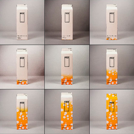 Milk carton that changes its color to indicate the freshness of its content