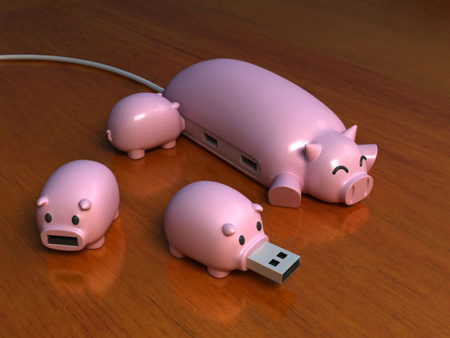 Pig buddies USB hub & USB drives