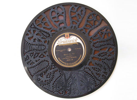 Burn-carved vintage records by Scott Marr
