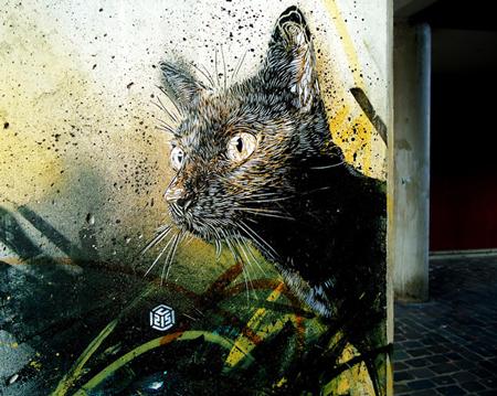 Stencil street art by C215