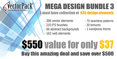 Mega design bundle 3 from Vectorpack.net available for only $37!