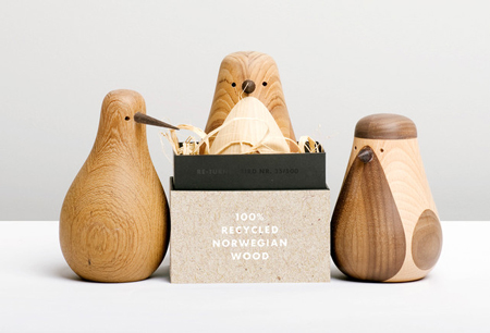 Wooden birds made of old furniture