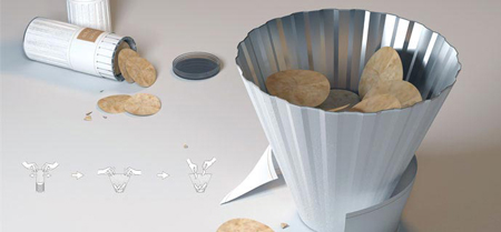 Expanding potato chip cylinder