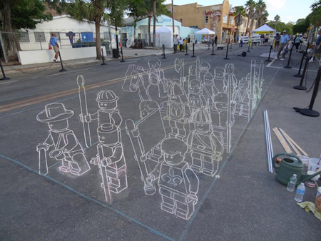 3D LEGO chalk drawing making off