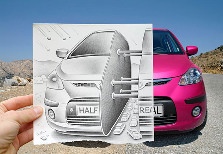 New pencil vs camera artworks by Ben Heine