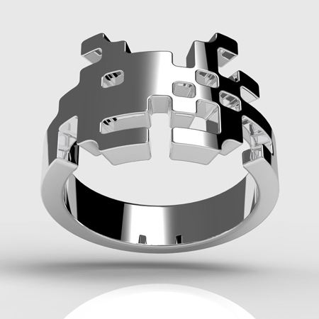 The silver space invader ring