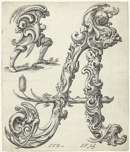Stylised 17th century floriated letterforms