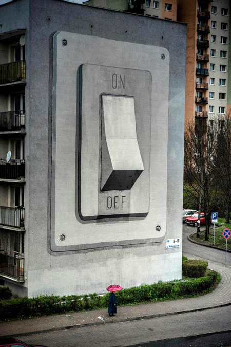 Humongous On/Off Switch Building Mural