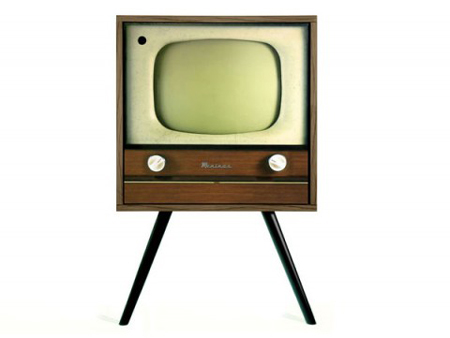 A cabinet disguised as an old-looking TV
