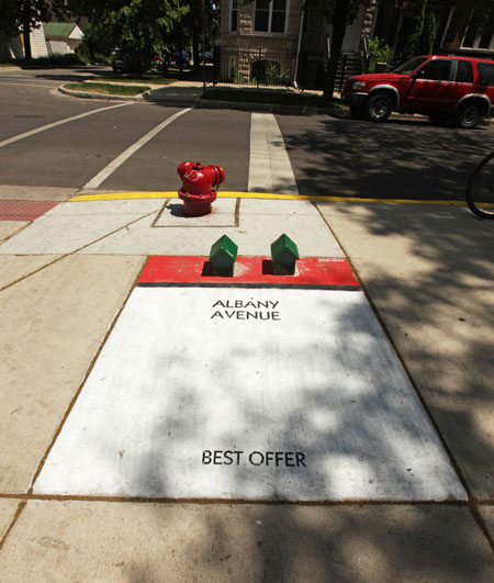 Street art turns Chicago sidewalks into an alternative Monopoly game
