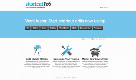 Learn your shortcuts with Shortcut Foo
