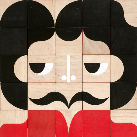 Interchangable wooden block portraits by Miller Goodman
