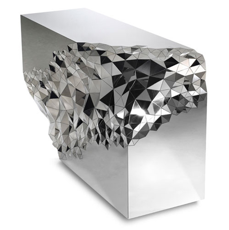 Mirrored geometric stellar console table