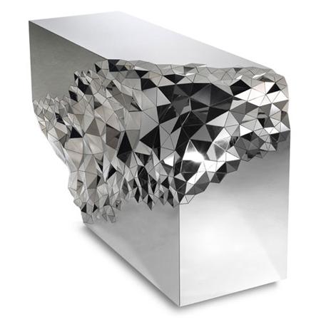 Mirrored geometric stellar console table