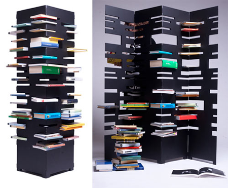 Bookshelf tower and divider by Marica Vizzuso